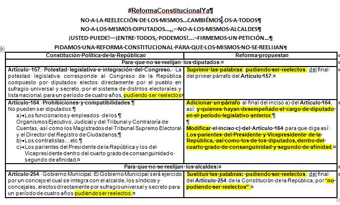 Propuesta de ReformaConstitucionalYa