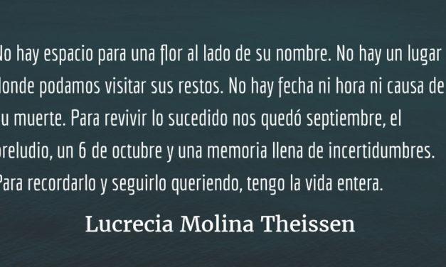 Luminosas, oscuras, polvorientas, mil imágenes de mi país cuelgan de mis pestañas… Lucrecia Molina Theissen.
