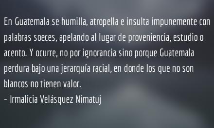 Odio racial. Irmalicia Velásquez Nimatuj.