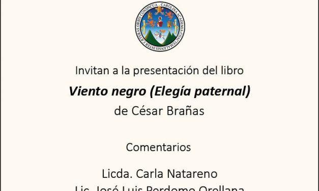 FILGUA: Presentación de Viento negro (Elegía paternal) de César Brañas