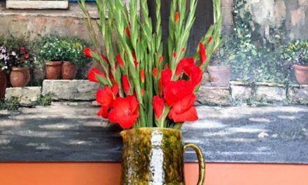 Gladiolos rojos. Ilka Oliva Corado.