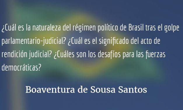 Un régimen anómalo sin dirección definida. Boaventura de Sousa Santos.