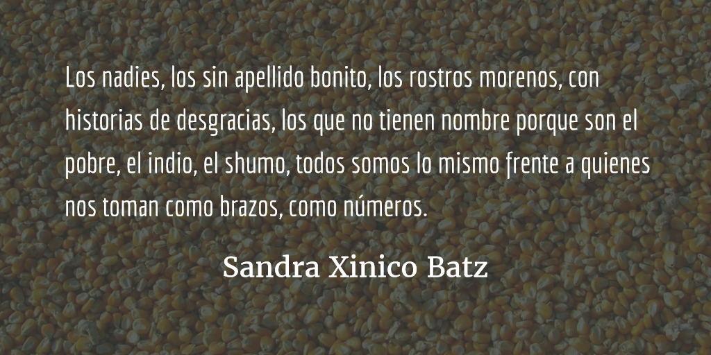 El poder de los nadies. Sandra Xinico Batz.