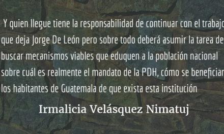 Elección en la Procuraduría de los Derechos Humanos. Irmalicia Velásquez Nimatuj.