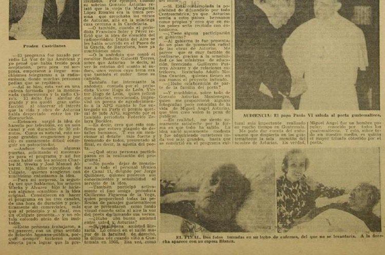 Imagen muestra fotografías que aparecieron en la edición del 10 de junio de 1974 en Prensa Libre, en la que se observa al escritor en el hospital.