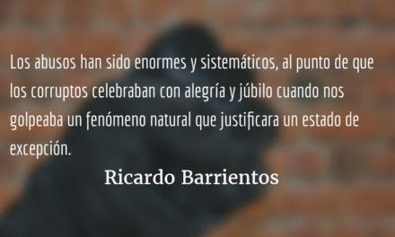 El rechazo del estado de calamidad de las carreteras. Ricardo Barrientos.