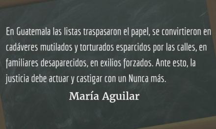 Listas como símbolos de terror. María Aguilar.