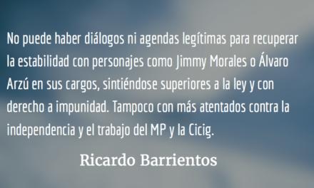 Ruta legítima para recuperar la estabilidad. Ricardo Barrientos.