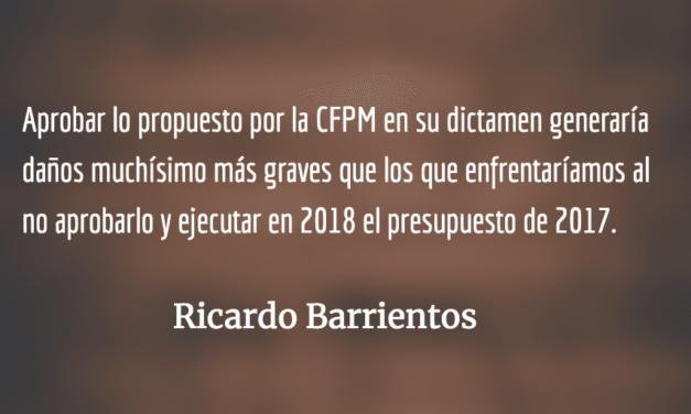 En esta ocasión, ¡no al presupuesto!  Ricardo Barrientos.