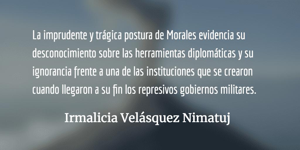 La visceralidad de Jimmy Morales contra la Procuraduría de los Derechos Humanos. Irmalicia Velásquez Nimatuj.