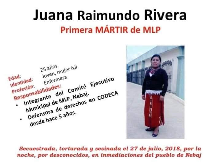 Repudiamos y condenamos el asesinato de Juana Raymundo