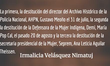 El Ejecutivo está destruyendo la precaria institucionalidad del Estado. Irmalicia Velásquez Nimatuj.