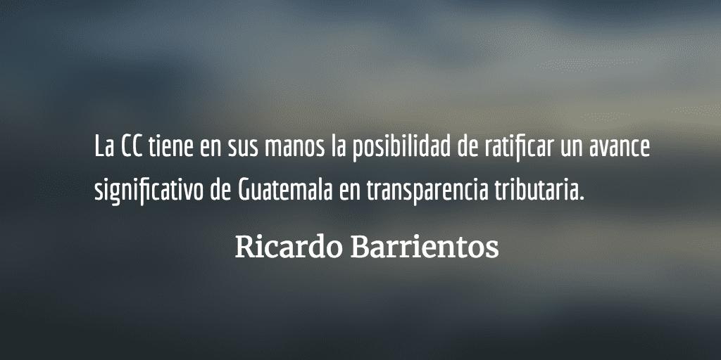 Riesgo de retroceso en transparencia tributaria. Ricardo Barrientos.