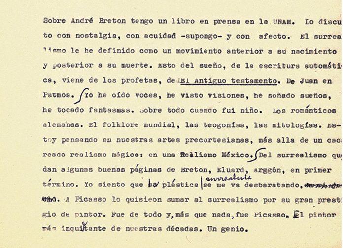 Fragmento del mecanuscrito de Cardoza y Aragón.